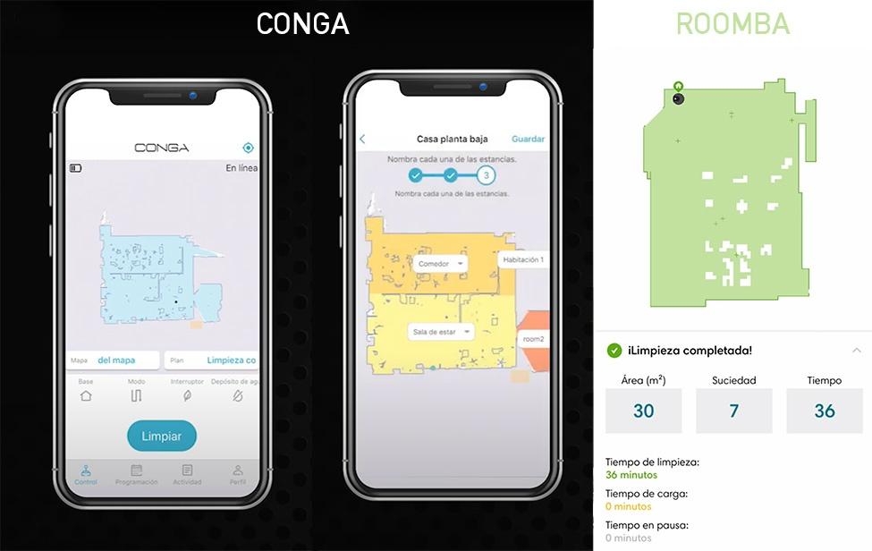 mapas conga vs roomba